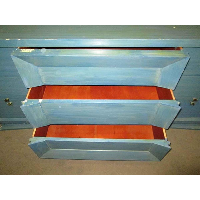 Mid-Century Blue Finish Wooden Dresser - Image 4 of 7