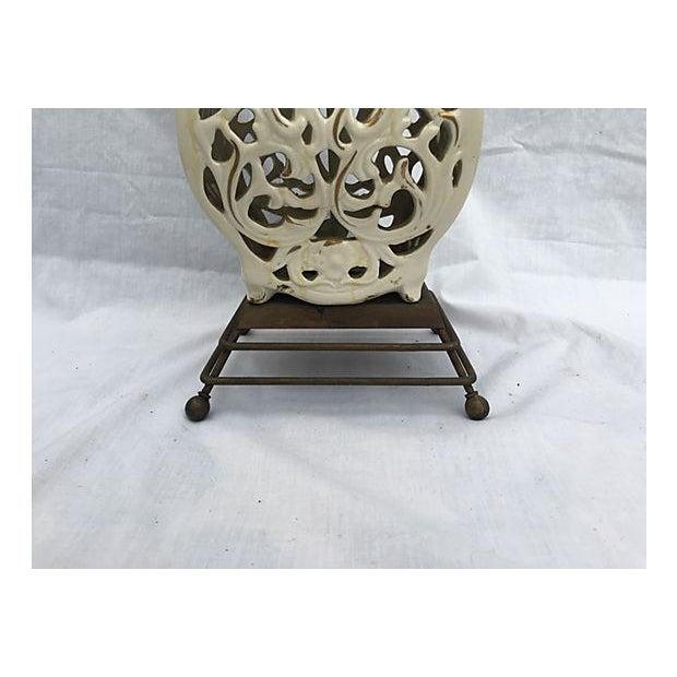 Image of Ivory Sculptured Vintage Lamp