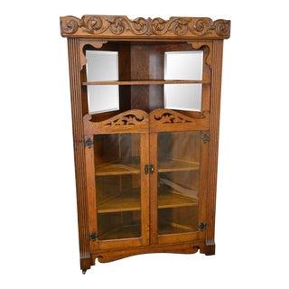 Antique Victorian Oak Corner Cabinet