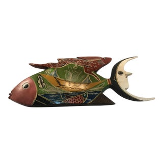 Vintage Fish, Rabbit & Crescent Moon Sculpture