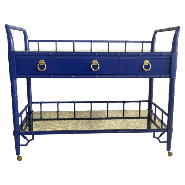 Thomasville Royal Blue Lacquered Server - Image 1 of 11