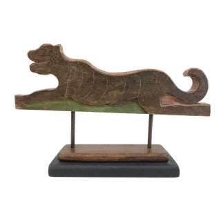 Antique Mounted Carved Wood Tiger