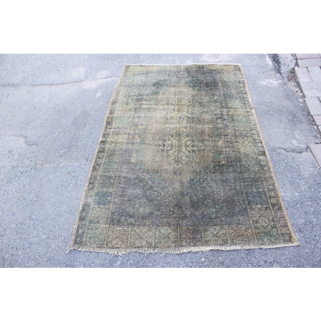 Antique Faded Floor Wool Rug - 3′8″ × 5′10″