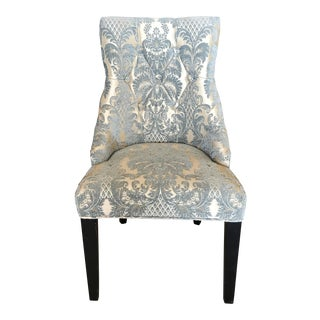 Blue Brocade Slipper Chair