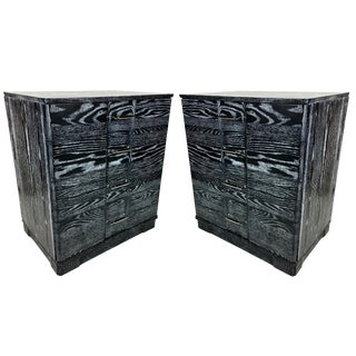 Pair of Ebonized Cerused Oak Bachelors Chests with Polished Nickel Pulls