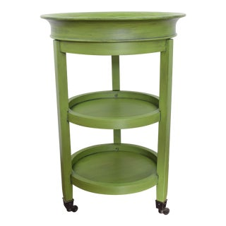 Round Green End Table With Detachable Tray and Casters