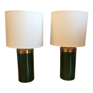 Porcelain Emerald Green & Brass Port 68 Lamps - A Pair
