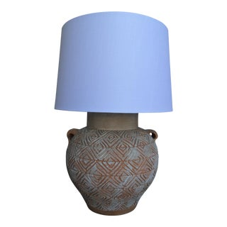 Whitewashed Terracotta Urn Table Lamp
