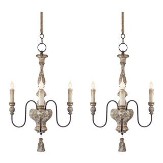 Pair of Italian Style, Three-arm Chandeliers With Tassel Detail
