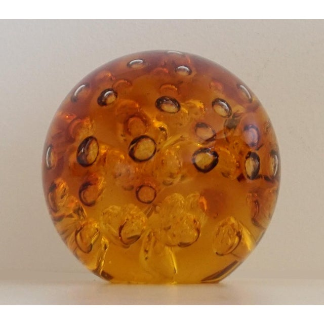 Amber Controlled Bubble Glass Orb - Image 2 of 5