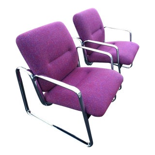 Violet Chrome Steelcase Chairs - A Pair