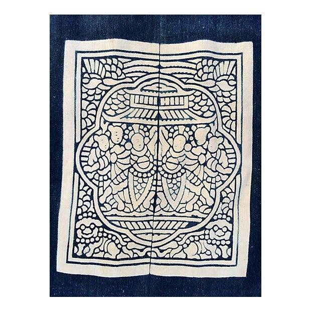 Hand-Blocked Chinese Indigo Story Panel Textile - Image 3 of 5