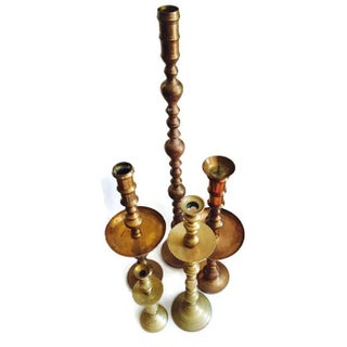 Vintage Indian Brass Candle Holder Collection - 5
