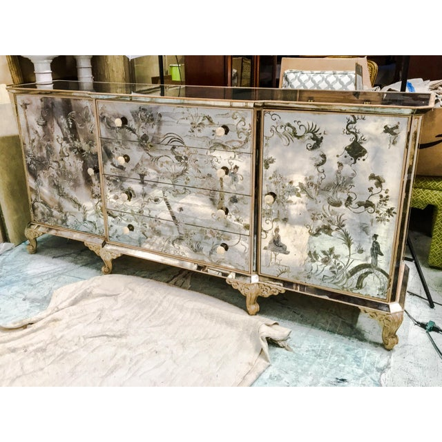 1950s Mirrored Chinoiserie Credenza - Image 7 of 10