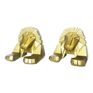 Vintage Gold Lion Bookends