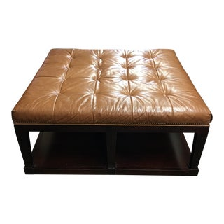 Oversized Button Tufted Leather Ottoman