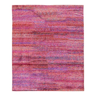 Pink Contemporary Hand Woven Rug - 7′11″ × 9′10″