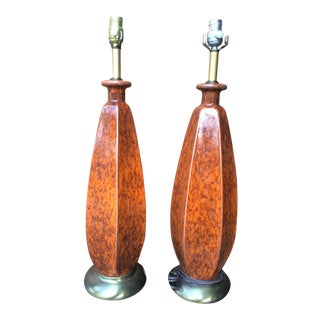Mid-Century Orange Glazed Lamps - A Pair
