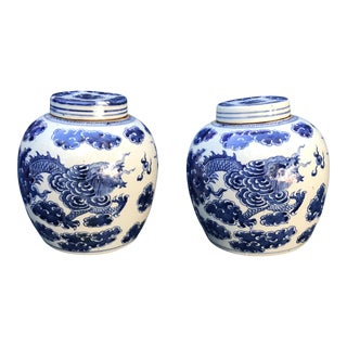 Blue & White Chinese Dragon Ginger Jars - A Pair