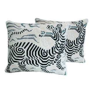 Boho Chic Clarence House Tibet Dragon Fabric Pillows - Pair