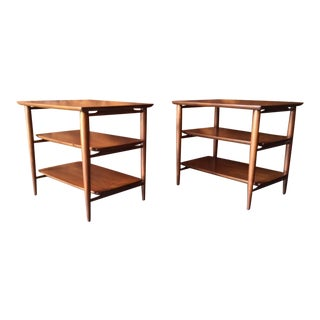 Henredon Vintage Walnut Refinished Side Tables - A Pair