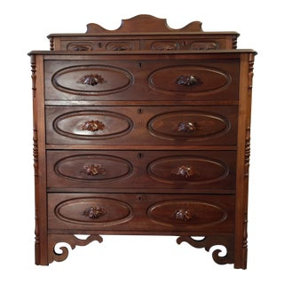 Antique Art Nouveau Style Walnut Dresser