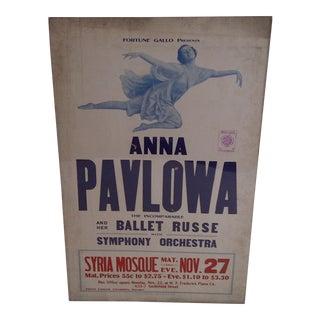 """Anna Pavlowa"" Vintage Ballet Show Poster"