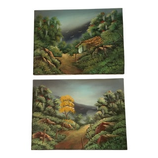 Vintage Hillside Landscape Paintings - A Pair