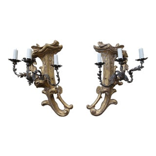 Three-Light Gilt Wood & Wrought Iron Sconces - A Pair
