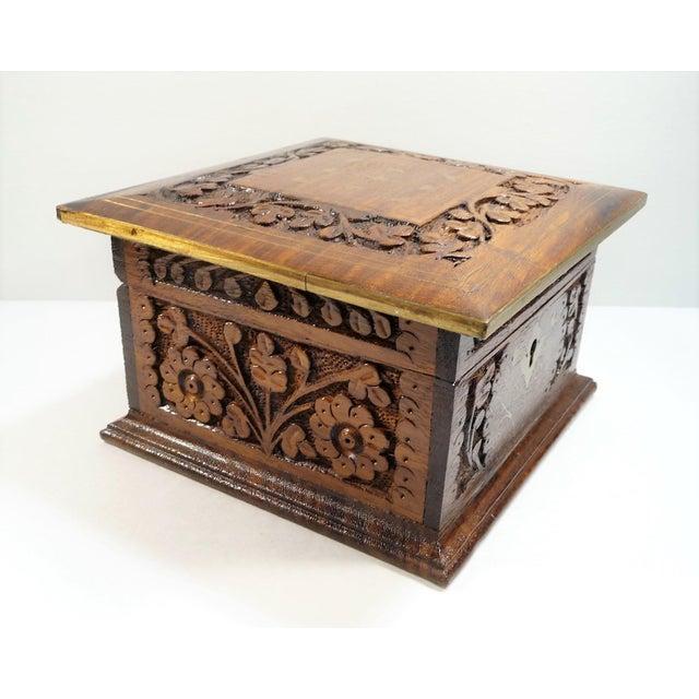 Vintage Square Carved Wood Box - Image 6 of 11