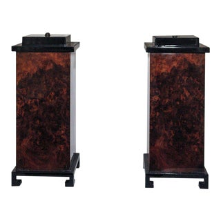 """""""Burl"""" and Black Lacquer Table Lamps - a Pair"""