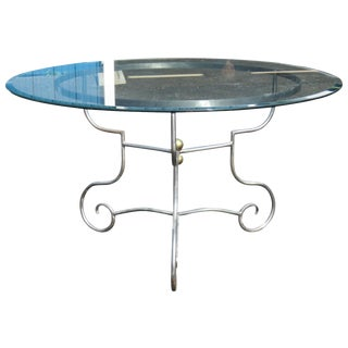 Jansen Style Chrome & Glass Center Table