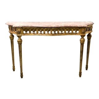 Giltwood Italian Marble Top Console