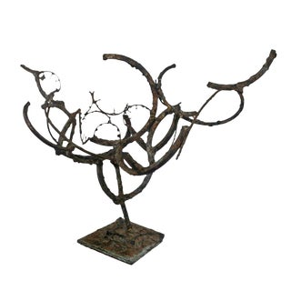 Abstract Tree Form Bronze & Iron Sculpture