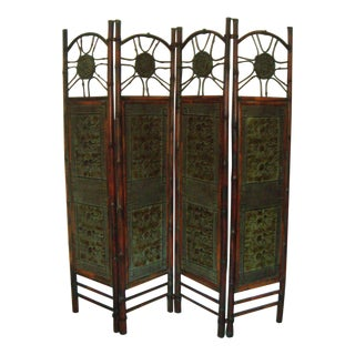 Oriental Elephant & Bamboo Room Divider
