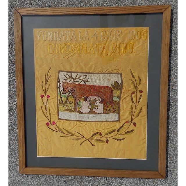 Image of Antique 1906 Romulus/Remus Embroidery Wall Art
