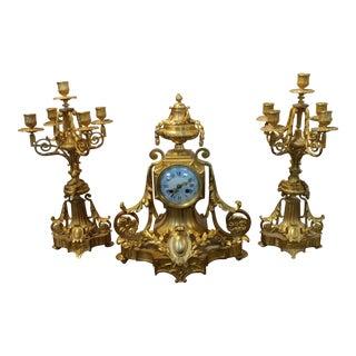 19th century French Empire Clock & Candelabra set-Fabulous Bronze Dore'-c1840s