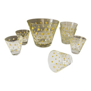 Vintage Mid-Century Glass Polka Dot Ice Bucket & Glasses Set - Set of 7