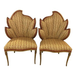 Flame Back Giltwood Fireside Arm Chairs- A Pair