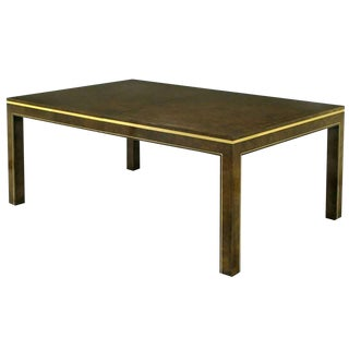 Mastercraft Amboyna Burl and Brass Parsons Leg Dining Table