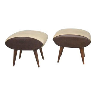 Mollino Style Leather Stools - A Pair