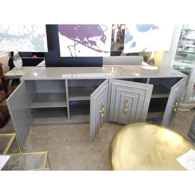 ModShop Art Deco Gray Lacquer W/ Gold Pulls Sideboard - Image 6 of 9
