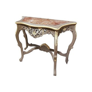 Carved Rocco-Style Marble-Top Console