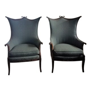 Antique French Wing Back Bergeres Chair - A Pair