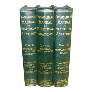 "Antique 1937 Medical Books ""Cunningham Manual of Practical Anatomy"" - Set of 3"