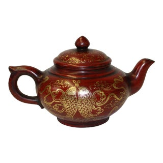 Chinese Zisha Clay Red Golden Scenery Teapot Display