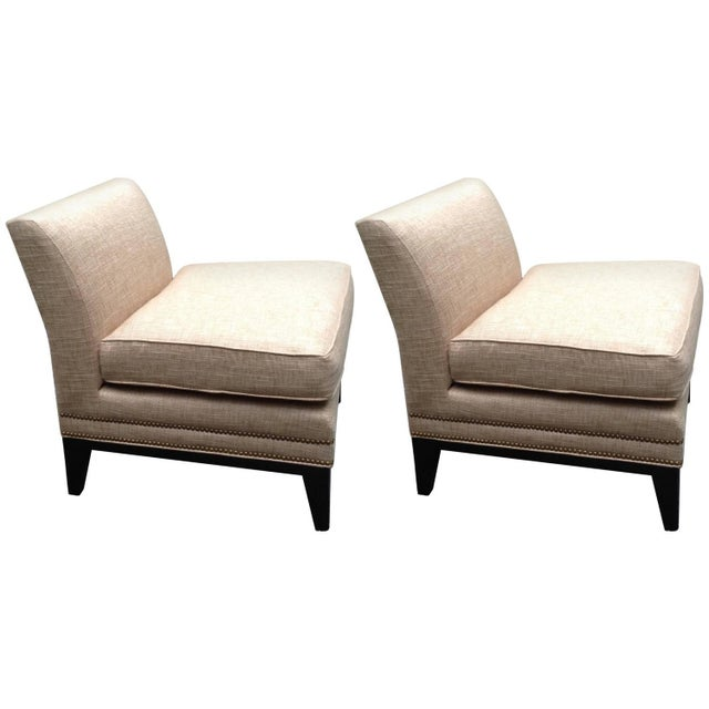 Reupholstered Vintage Slipper Chairs - A Pair - Image 1 of 3