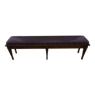 Italian Hollywood Regency Wooden Upholstered Bench