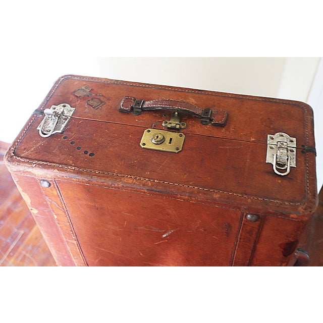 Vintage Worn Leather Suitcase - Image 5 of 8