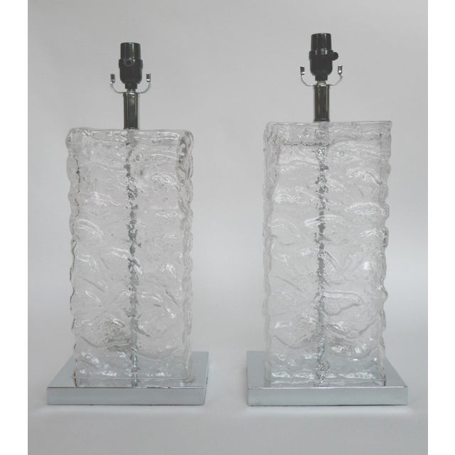 Modern Ice Cube Glass Table Lamps - A Pair - Image 2 of 8